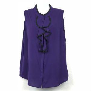 Calvin Klein Ruffle Sleeveless Blouse Shirt